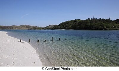 Scottish white sandy beach Morar south of Mallaig west...