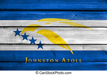 Flag of Johnston Atoll, USA, painted on old wood plank...