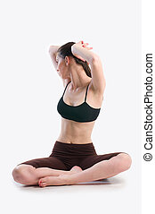 Elasticity woman - Young woman doing gymnastics, showing her...