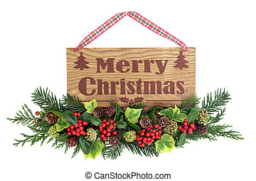 Merry Christmas Sign - Merry christmas old wooden sign with...