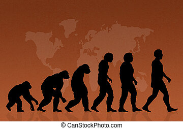 Human evolution species - illustration of human evolution,...