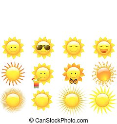 Vector Set Suns - Vector Set Cartoon Sun Characters,...