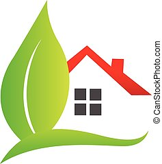 House and leaf logo - House and leaf real estate logo vector