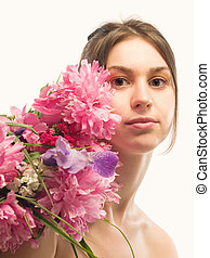 Naturaly beauty - Caucasian woman with bouquet of red...