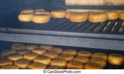 Smoked cheese on the oven, the cooking process.