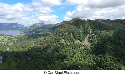 Pan lake river mountain landscape - Pan of Lake District,...
