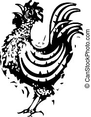 Woodcut Rooster crowing
