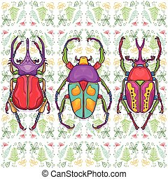 3 Colorful Beetle Bugs, Insect