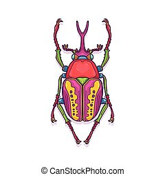 Colorful Scarab Beetle Bug Insect - Vector Illustration of...