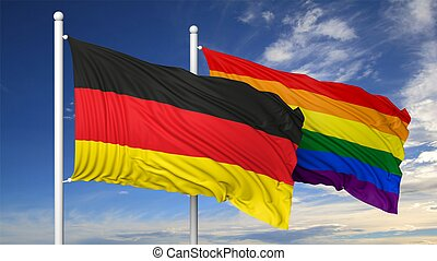3d rendering gay flag with Germany flag - 3d rendering...
