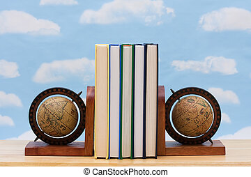 International education - A stack of book between book end...