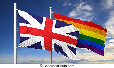 3d rendering gay flag with UK flag