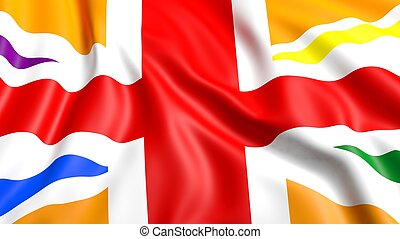 3d rendering waving UK  flag with rainbow colors
