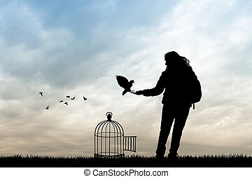 girl and bird cage at sunset - illustration of girl and bird...