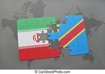 puzzle with the national flag of iran and democratic...