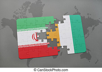 puzzle with the national flag of iran and cote divoire on a...