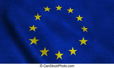 Flag of the European Union waving on the wind. Seamless loop