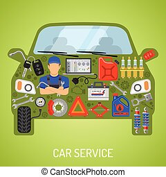 Car Service Concept - Car Service and Roadside Assistance...