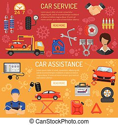 Car Service Banners - Car Service and Assistance Horizontal...