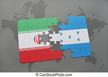 puzzle with the national flag of iran and honduras on a...