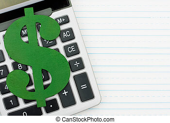 Cost of education - A calculator on a notepad with a dollar...