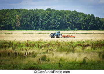 Blue tractor - Turning grass in the biesbosch national park