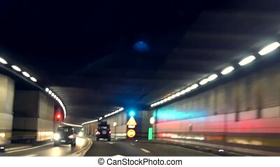 Fast driving in St Gotthard tunnel.Time lapse. - Fast...