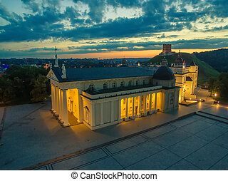 Aerial top night view of Vilnius, Lithuania: cathedral, Upper Castle