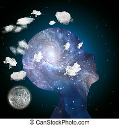 Imagination - Head in clouds contains space