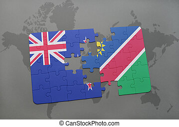 puzzle with the national flag of new zealand and namibia on...