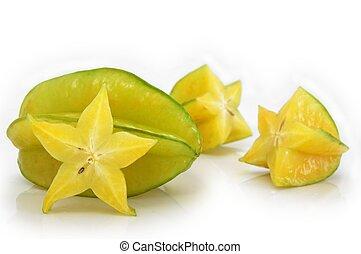 Starfruit - Ripe starfruit (Averrhoa carambola). Whole fruit...