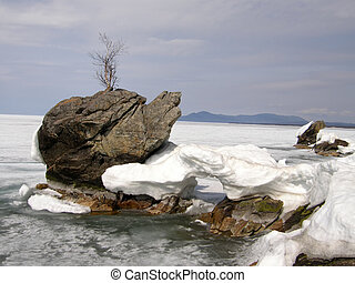 Ice-covered Lake Baikal Spring The end of April