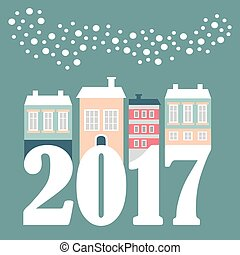 Cute Christmas, New Year 2017 card with winter houses, falling snowflakes. Vector illustration, flat design.