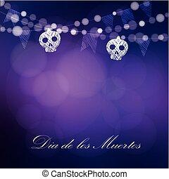 Dia de Los Muertos, Day of the Dead or Halloween card,...