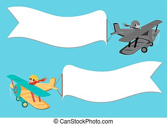Clip Art Vector of Flying vintage plane with the banner. Template ...