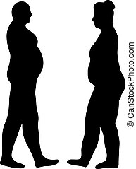 silhouettes of fat men and women