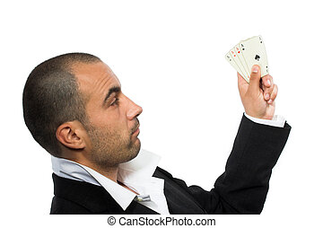 poker player with four aces