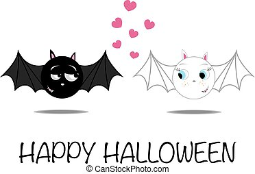 Bat couple in love - Halloween funny illustration of bat...