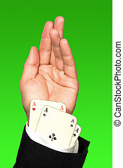 cheating poker player - Close up of cheating poker player\'s...
