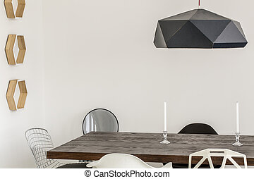 Modern dining room made a piece of art - Close-up of a...