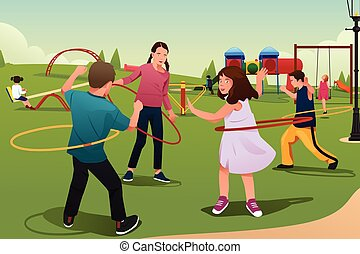 Children Playing Hula Hoop - A vector illustration of happy...