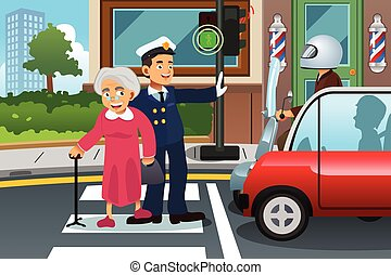 Policeman Helping Grandma Crossing the Street - A vector...