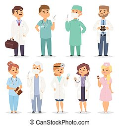 Different doctors charactsers vector set. - Different...