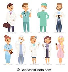 diferente, medicos, charactsers, vector, Conjunto