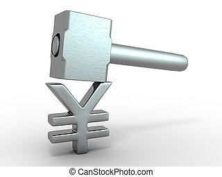 Hammer with sign yen