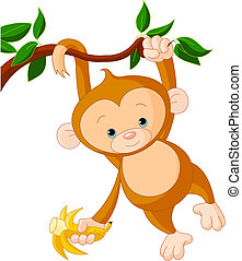 Baby monkey on a tree - Cute baby monkey on a tree holding...
