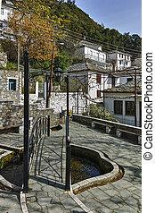 Village of Panagia, Thassos island - Bridge in Center of...