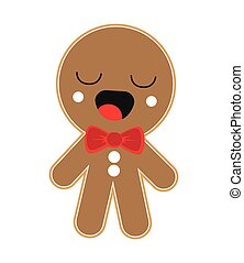 kawaii gingerbread cookie icon - flat design kawaii...