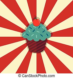 Cupcake with cherry on retro style circle ray background. Vector illustration