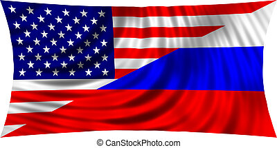 American and Russian flag together waving on white